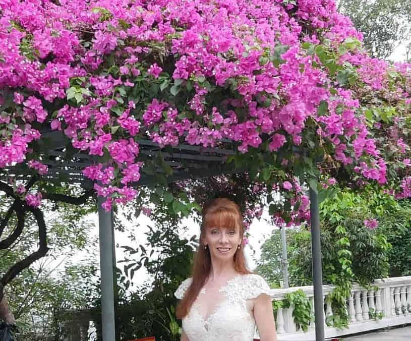 Chiang Mai Temple Beautiful Pink Flowers In Garden