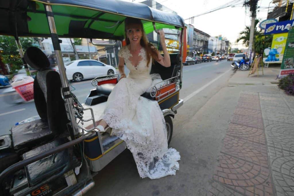Getting Around In Chiang Mai Via Tuk Tuk In A Wedding Dress