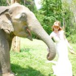 Tegan Marshall And An Elephant At The Chai Lai Orchid Elephant Sanctuary Thailand