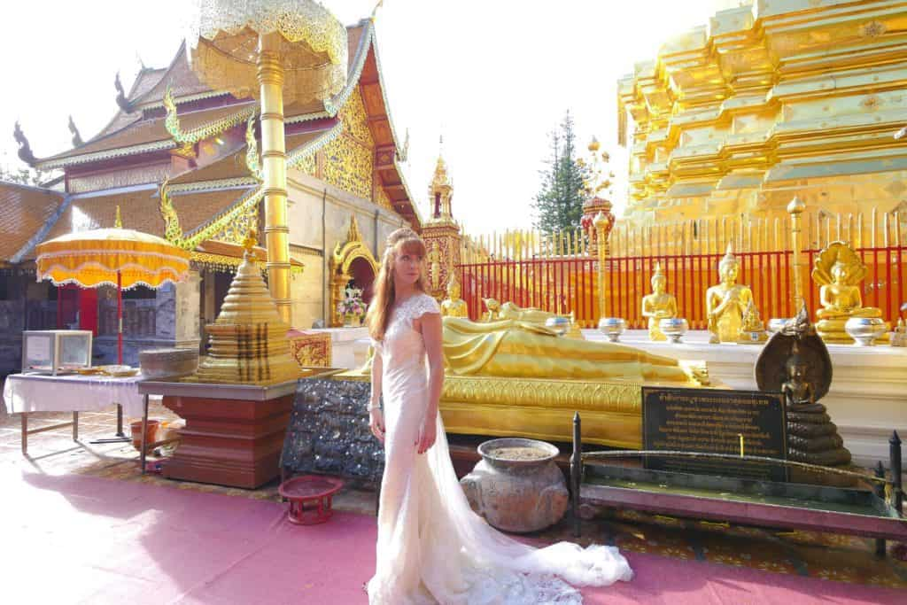 Tegan Marshall In Chiang Mai Temple In Her Wedding Dress