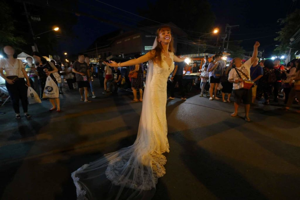Tegan Marshall Is Happy At The Chiang Mai Night Markets In The Wandering Wedding Dress