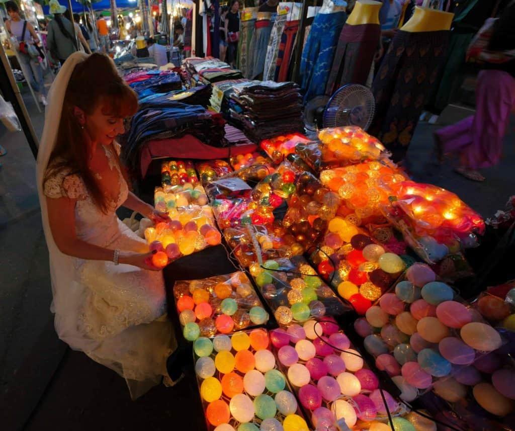 Wandering Wedding Dress Choosing A Gift At The Chiang Mai Night Markets
