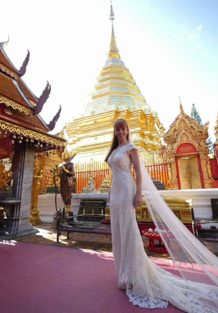 Wandering Wedding Dress In Chiang Mai At The Golden Temple
