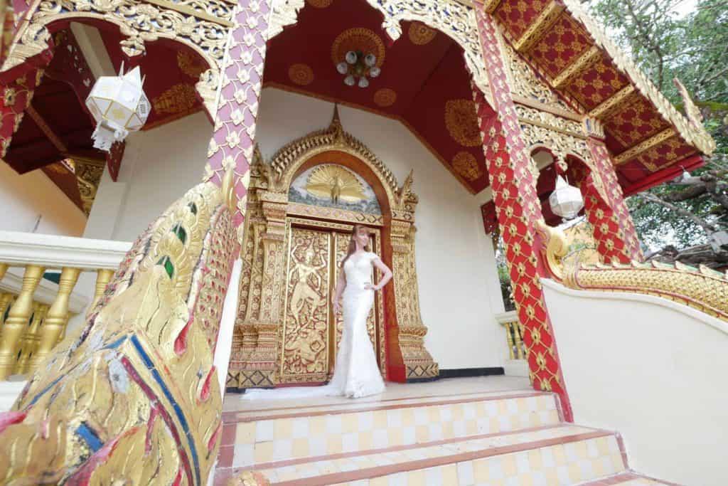 Wandering Wedding Dress In Chiang Mai Temple Doors