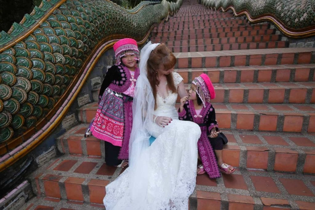 Wandering Wedding Dress In Chiang Mai With Local Children