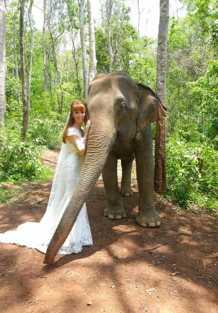 Wandering Wedding Dress In Chiang Mai With Rescue Elephant
