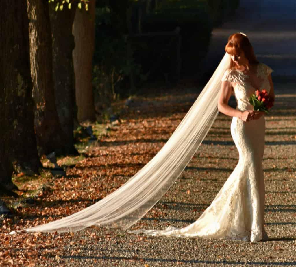 Tegan Marshall and the Wandering Wedding Dress in the gardens at Karma Tuscany