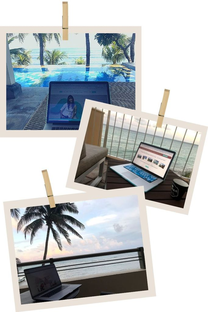 Different tropical office views possible as a digital nomad at 50