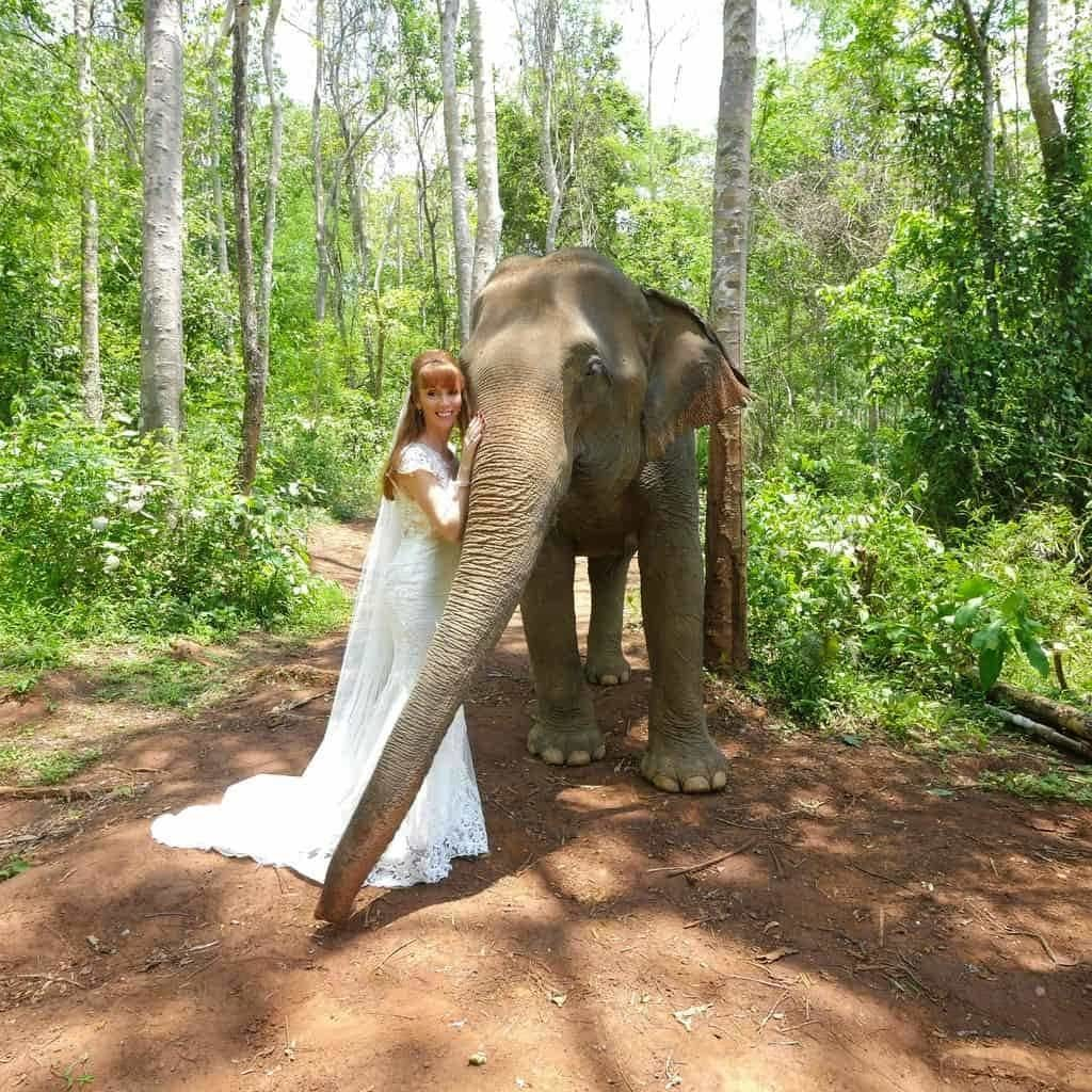 Tegan Marshall In The Forest In Chiang Mai With Rescue Elephant Circle