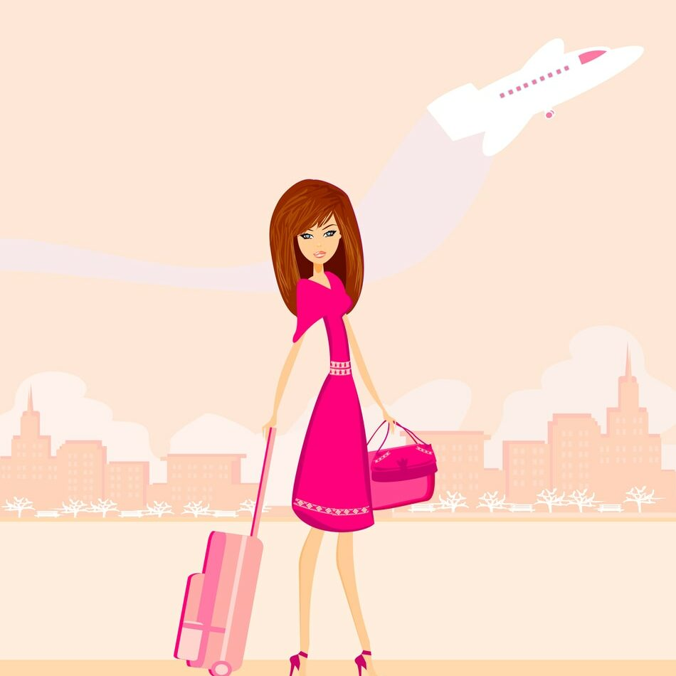 Beauty Travel Girl With Baggage